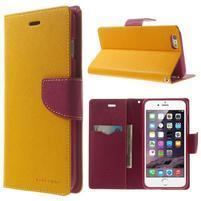 Peňaženkové puzdro pre iPhone 6 Plus a 6s Plus -  žlté