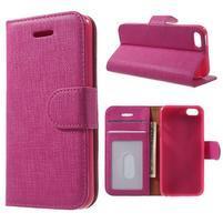 Cloth PU kožené puzdro pre iPhone SE / 5s / 5 - rose