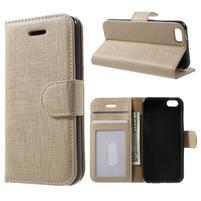 Cloth PU kožené puzdro pre iPhone SE / 5s / 5 - zlaté