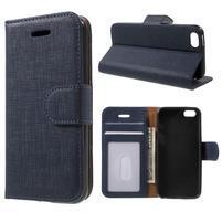 Cloth PU kožené puzdro pre iPhone SE / 5s / 5 - tmavomodré