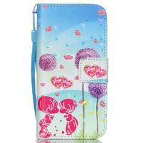 Peňaženkové puzdro pre mobil iPhone SE / 5s / 5 - púpavy