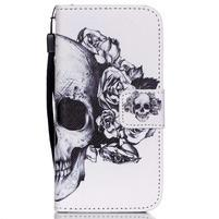 Peňaženkové puzdro pre mobil iPhone SE / 5s / 5 - lebka