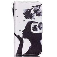 Peňaženkové puzdro pre mobil iPhone SE / 5s / 5 - dievča s kvetinou