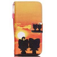 Peňaženkové puzdro pre mobil iPhone SE / 5s / 5 - zapadajúce slnko