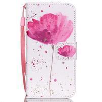 Peňaženkové puzdro pre mobil iPhone SE / 5s / 5 - makový kvet