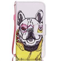 Peňaženkové puzdro pre mobil iPhone SE / 5s / 5 - buldog
