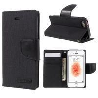 Canvas PU kožené/textilné puzdro pre mobil iPhone SE / 5s / 5 - čierne
