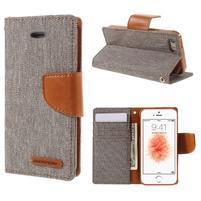 Canvas PU kožené/textilné puzdro pre mobil iPhone SE / 5s / 5 - sivé