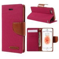 Canvas PU kožené/textilní pouzdro na mobil iPhone SE / 5s / 5 - červené