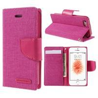 Canvas PU kožené/textilní pouzdro na mobil iPhone SE / 5s / 5 - rose