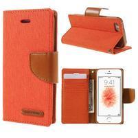 Canvas PU kožené/textilné puzdro pre mobil iPhone SE / 5s / 5 - oranžové