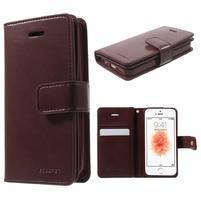 Extrarich PU kožené pouzdro na iPhone SE / 5s / 5 - vínověčervené