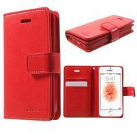 Extrarich PU kožené puzdro pre iPhone SE / 5s / 5 - červené
