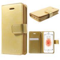 Extrarich PU kožené puzdro pre iPhone SE / 5s / 5 - zlaté