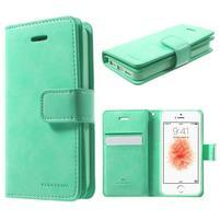 Extrarich PU kožené puzdro pre iPhone SE / 5s / 5 - azurové