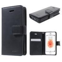 Extrarich PU kožené puzdro pre iPhone SE / 5s / 5 - tmavomodré