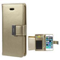 Rich diary PU kožené pouzdro na iPhone SE / 5s / 5 - zlaté