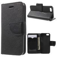 Cross PU kožené puzdro pre iPhone SE / 5s / 5 - čierne