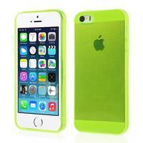 Gélový transparentný obal pre iPhone SE / 5s / 5 - žlutozelený