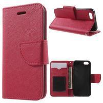 Cross PU kožené puzdro pre iPhone SE / 5s / 5 - červené