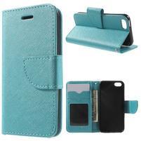 Cross PU kožené puzdro pre iPhone SE / 5s / 5 - modré