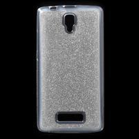 Povrchově třpytivý gelový obal na mobil Lenovo A2010 - stříbrný