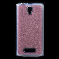 Povrchove trblietavý gélový obal pre mobil Lenovo A2010 - rose