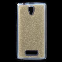 Povrchově třpytivý gelový obal na mobil Lenovo A2010 - zlatý