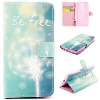 Peňaženkové PU kožené puzdro pre LG Leon - be free