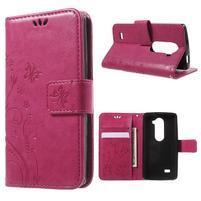 Buttefly PU kožené pouzdro na mobil LG Leon - rose