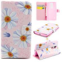 Peňaženkové PU kožené puzdro pre LG Leon - sedmokrásky