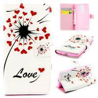 Peňaženkové PU kožené puzdro pre LG Leon - love