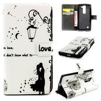 Peňaženkové PU kožené puzdro pre LG Leon - láska pod lampou