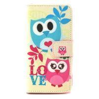 Style peňaženkové puzdro pre LG Leon - zamilované sovy