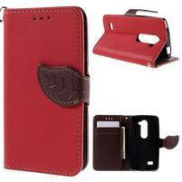 Leaf PU kožené pouzdro na mobil LG Leon - červené