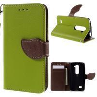 Leaf PU kožené puzdro pre mobil LG Leon - zelené