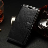 Peňaženkové PU kožené puzdro pre LG Spirit - čierne