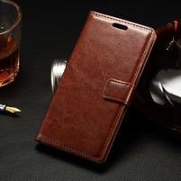 Peňaženkové PU kožené puzdro pre LG Spirit - hnedé