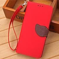Knížkové PU kožené puzdro pre mobil Meizu MX5 - červené
