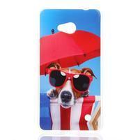 Softy gélový obal pre mobil Microsoft Lumia 640 LTE - psík so slnečníkom