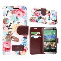 Kvetinové peňaženkové púzdro na HTC One Mini 2 - biele