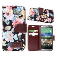 Kvetinové peňaženkové púzdro na HTC One Mini 2 - čierne