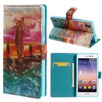 Obrazové peňaženkové puzdro na Huawei Ascend P7 - oceán