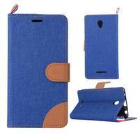Jeans peňaženkové puzdro na Lenovo A5000 - tmavo modré