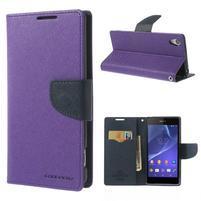 Fancy peněženkové pouzdro na Sony Xperia Z2 - fialové