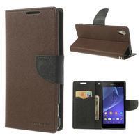 Fancy Peňaženkové puzdro pre Sony Xperia Z2 - hnedé