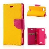 Mr. Fancy peňaženkové puzdro pre Sony Xperia L - žlté