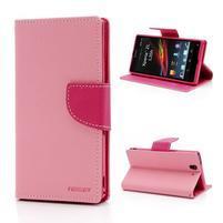 Mr. Goos peňaženkové puzdro na Sony Xperia Z - růžové