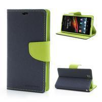 Mr. Goos peňaženkové puzdro na Sony Xperia Z - tmavo modré
