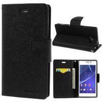 Mr. Goos peňaženkové puzdro na Sony Xperia M2 - čierné